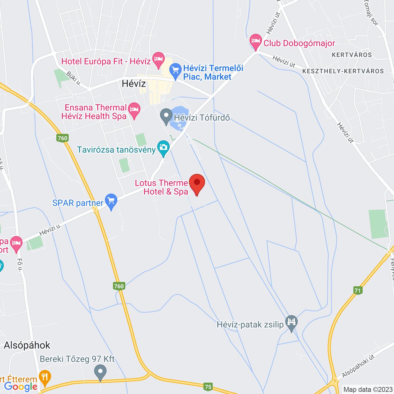 Mapa Lotus Therme Hotel & Spa***** Hévíz