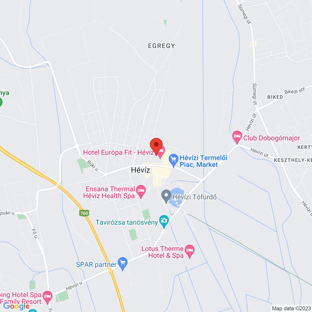 Mapa Hotel Europa Fit**** Hévíz