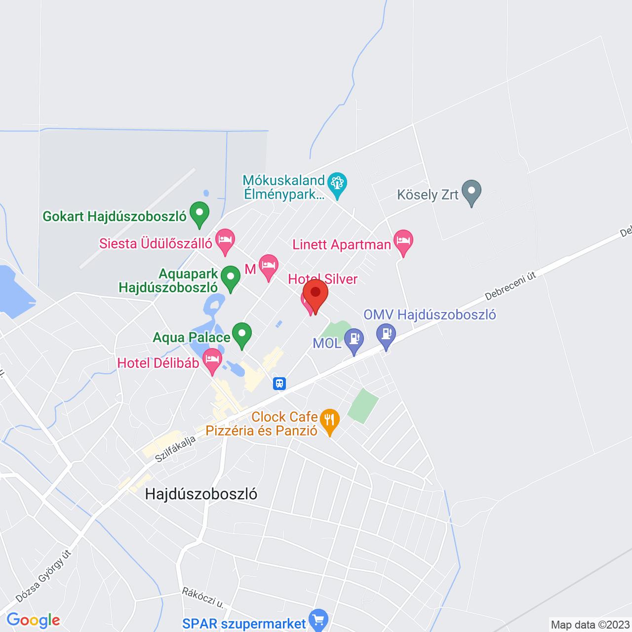 Mapa Hotel Silver**** Hajdúszoboszló