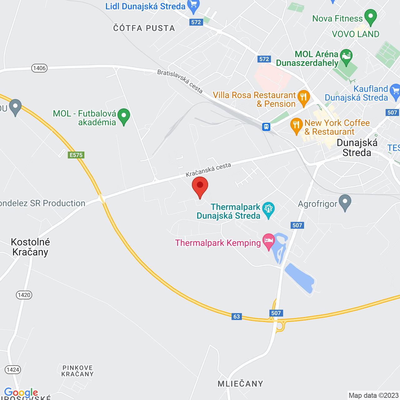 Mapa Hotel Therma**** Dunajská Streda