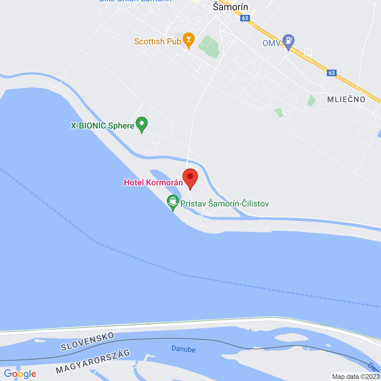 Mapa Hotel Kormorán**** Šamorín