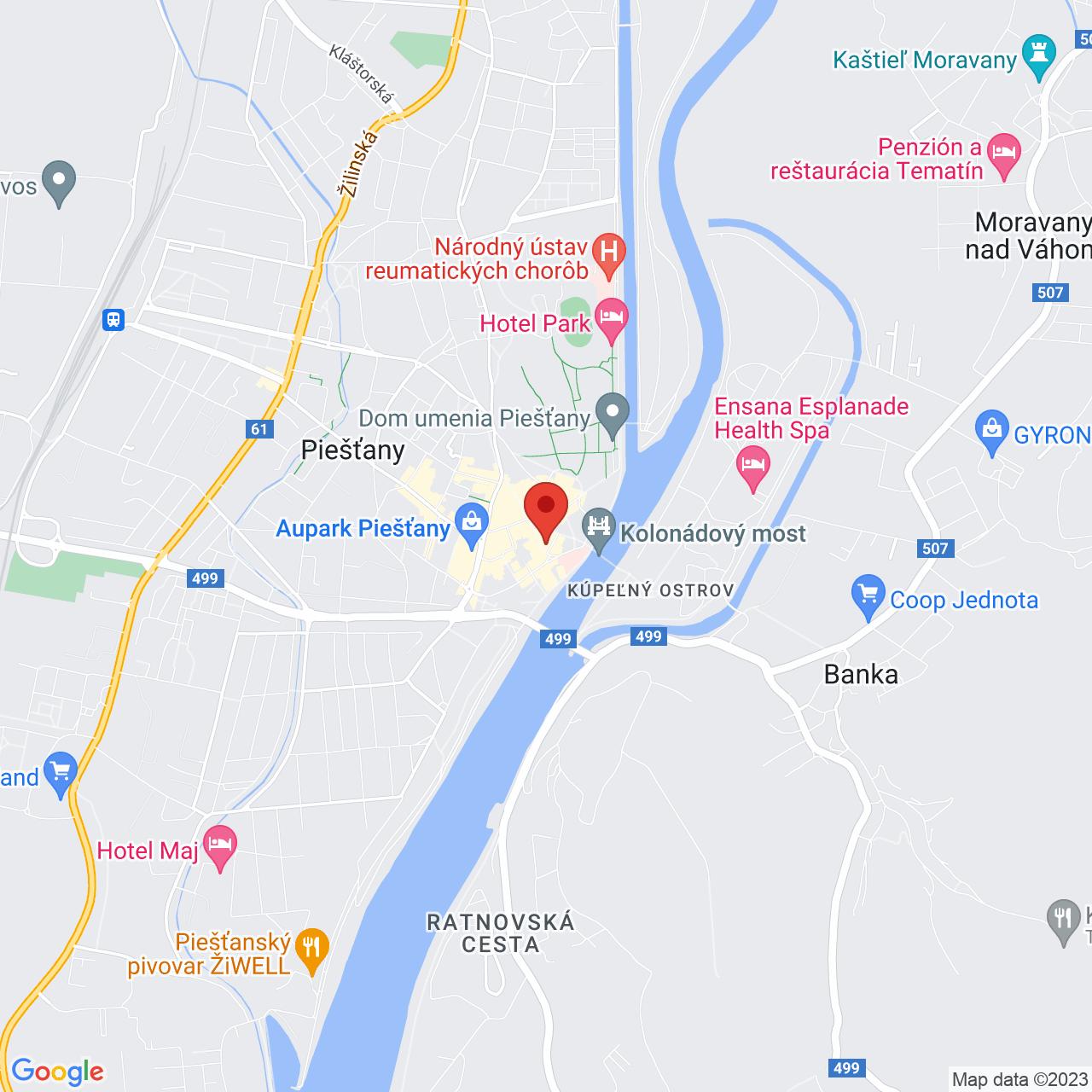 Mapa Jalta Ensana Health Spa Hotel** Piešťany