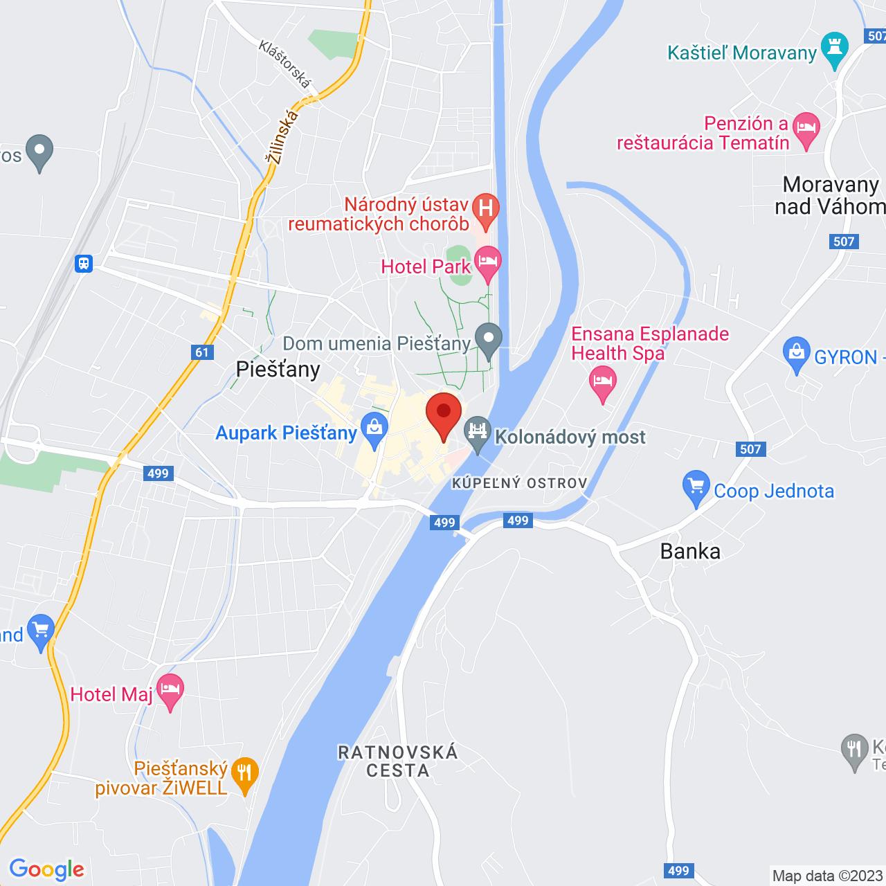 Mapa Hotel Magnólia**** Piešťany