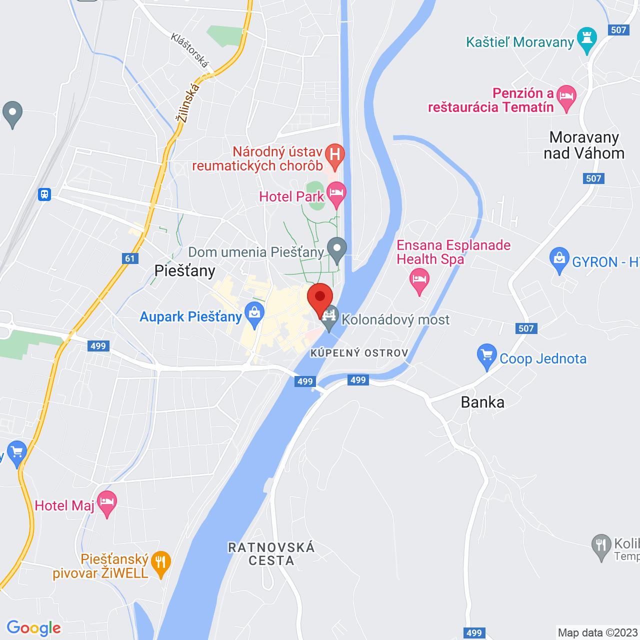 Mapa Vila Trajan Ensana Health Spa Hotel** Piešťany