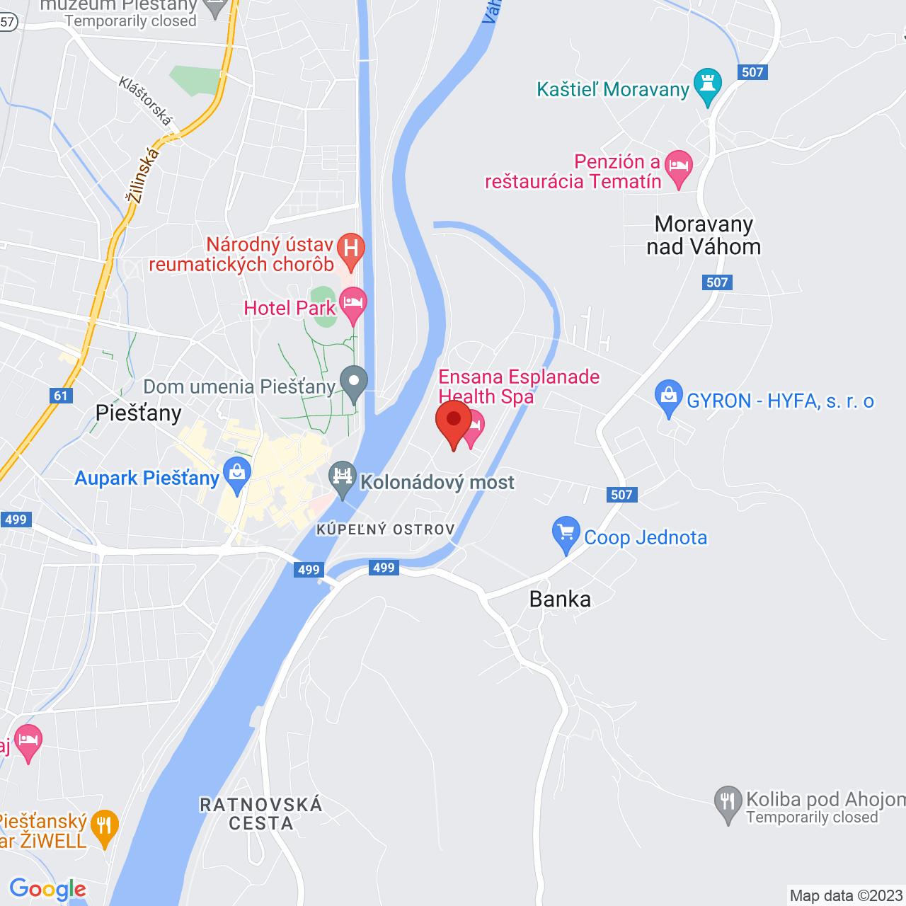 Mapa Esplanade Ensana Health Spa Hotel**** Piešťany