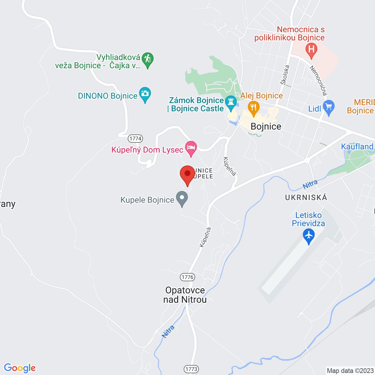 Mapa Liečebný dom Bôrina Bojnice