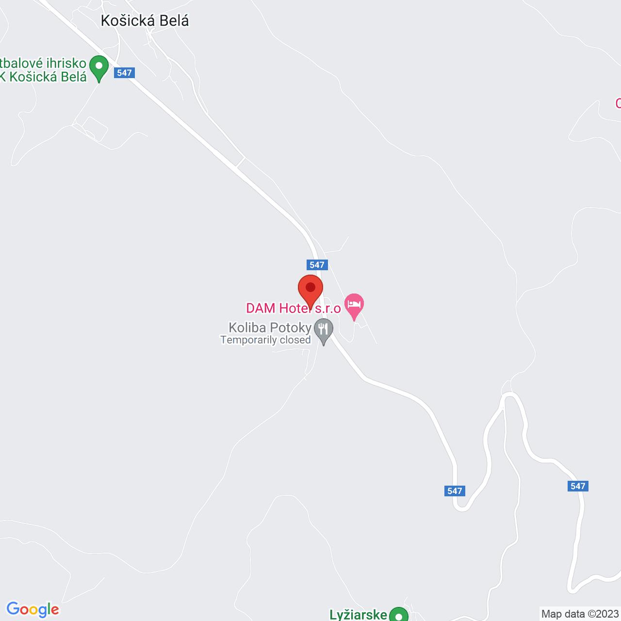Mapa Hotel Garden*** Košická Belá