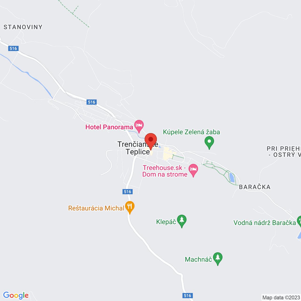 Mapa Liečebný dom Atlantis** Trenčianske Teplice