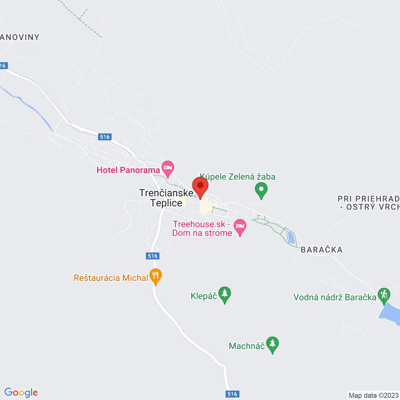 Mapa Hotel Flóra*** Trenčianske Teplice