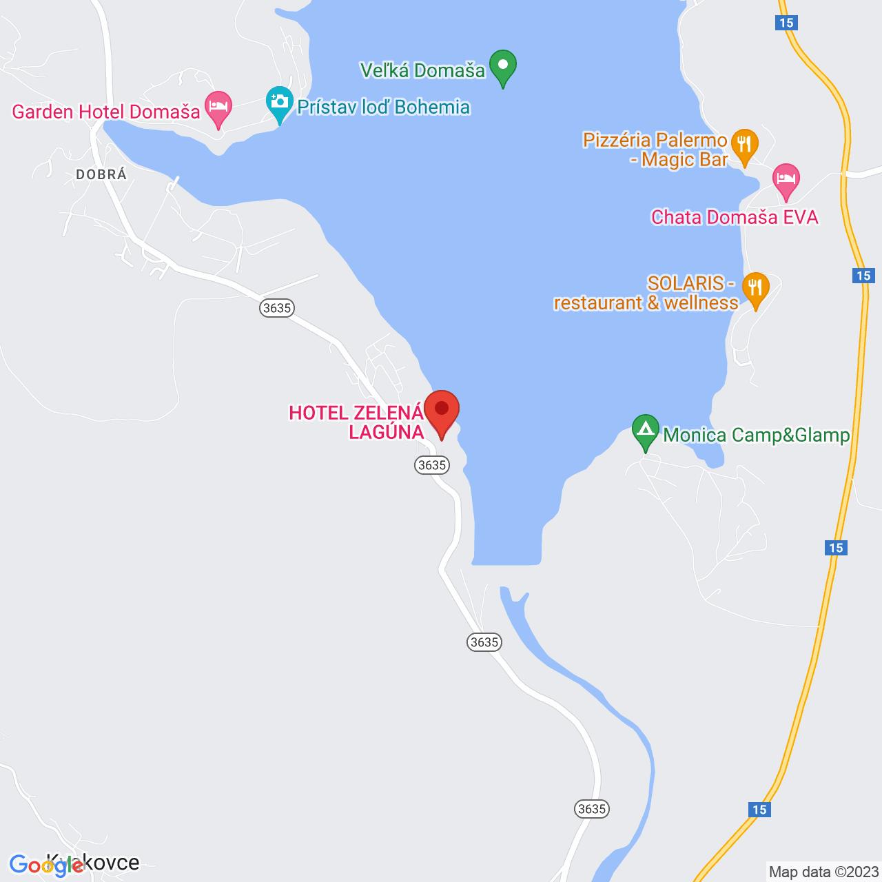 Mapa Hotel Zelená Lagúna**** Domaša