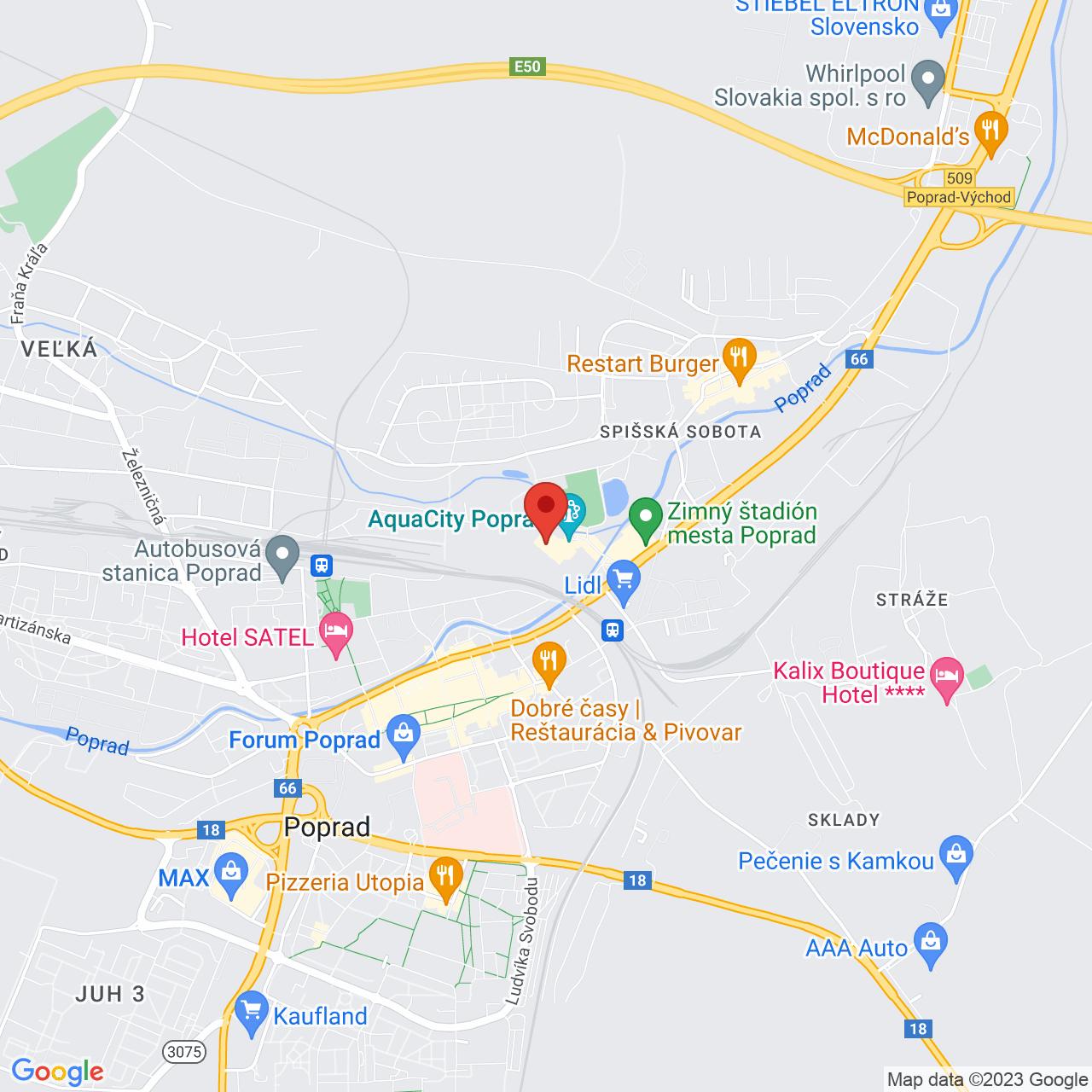 Mapa Hotel AquaCity Mountain View**** Poprad