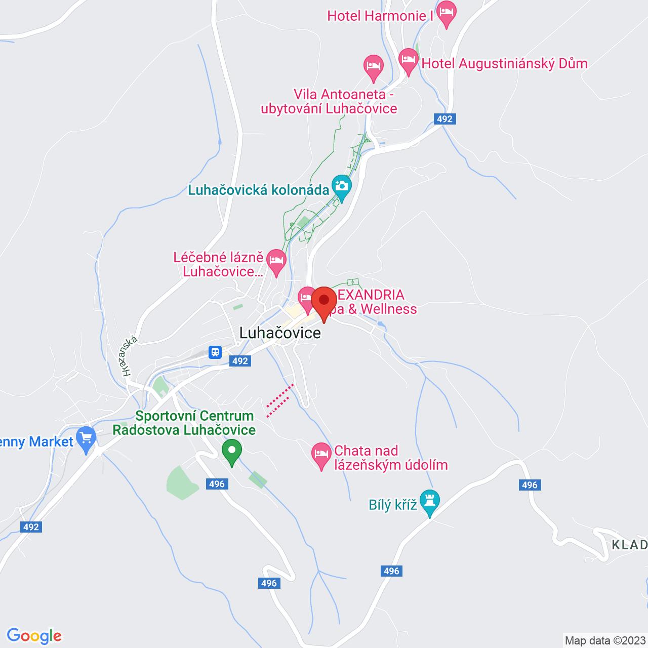 Mapa Kúpeľný Hotel Morava*** Luhačovice