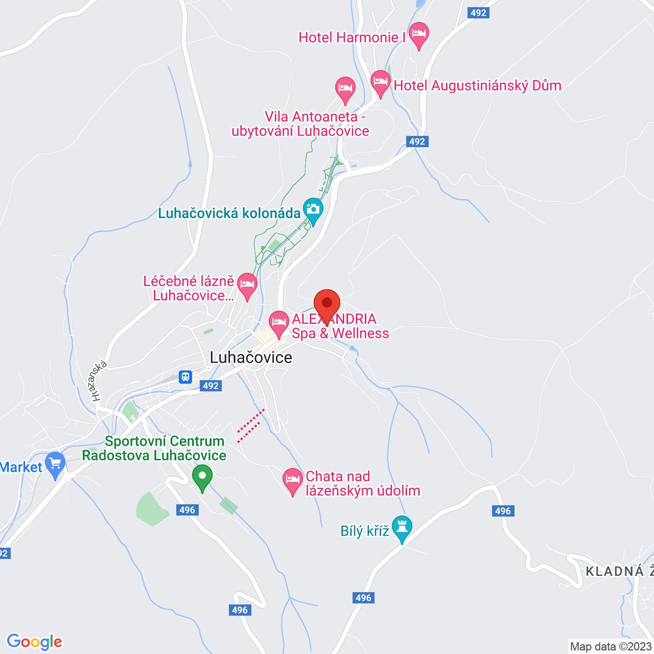 Mapa Hotel Vila Viola**** Luhačovice