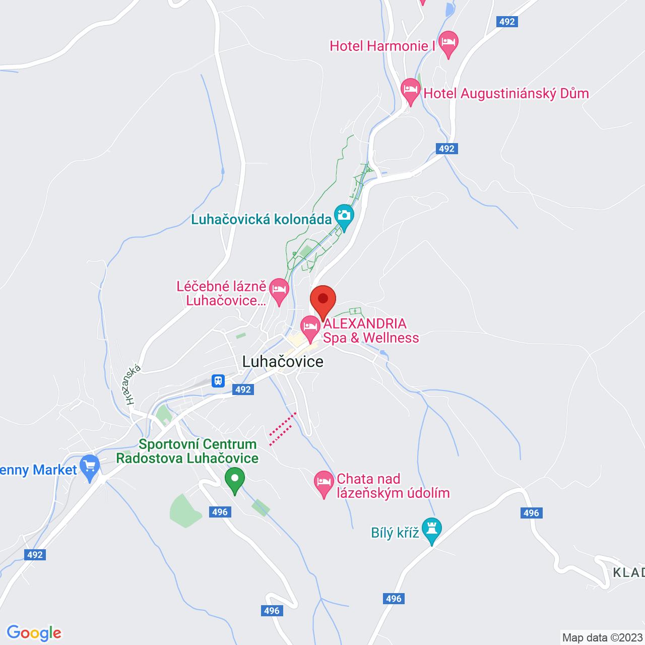 Mapa Kúpeľný Hotel Palace**** Luhačovice