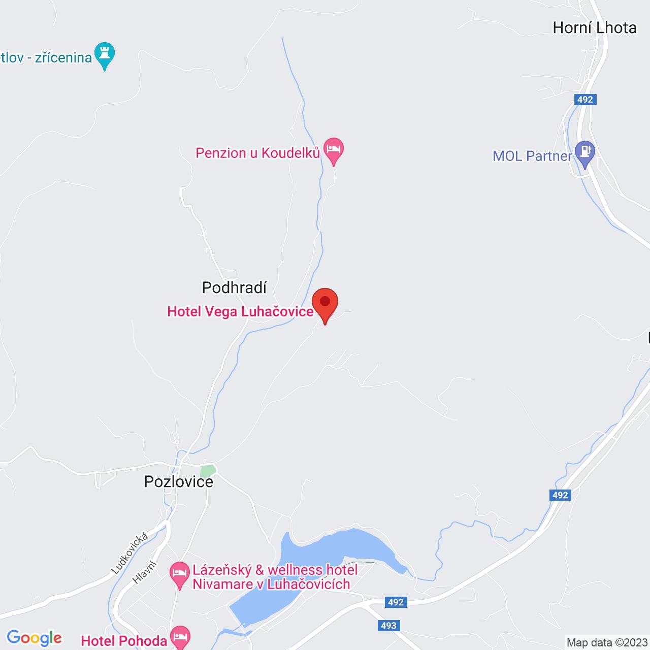 Mapa Hotel Vega**** Luhačovice