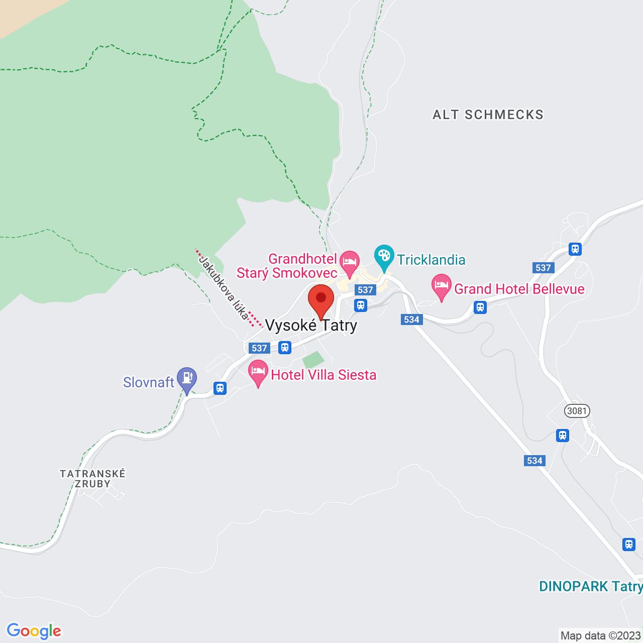 Mapa Kúpeľný Hotel Branisko*** Nový Smokovec