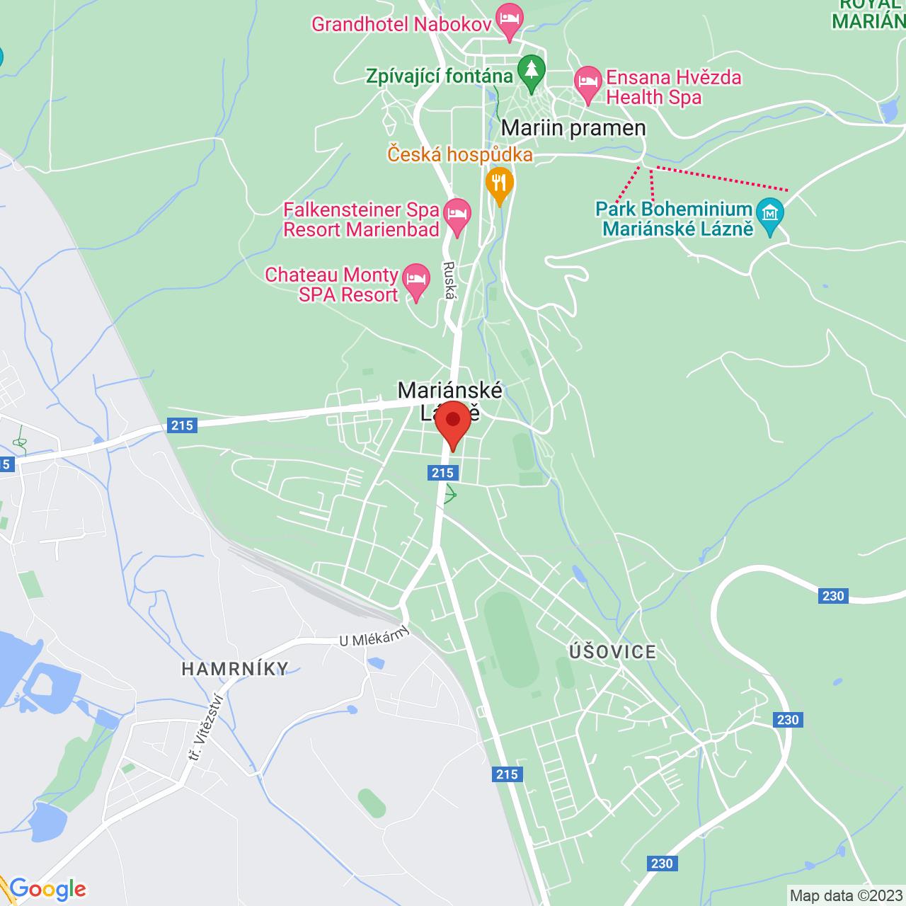 Mapa Imperial Ensana Health Spa Hotel**** Mariánske Lázně