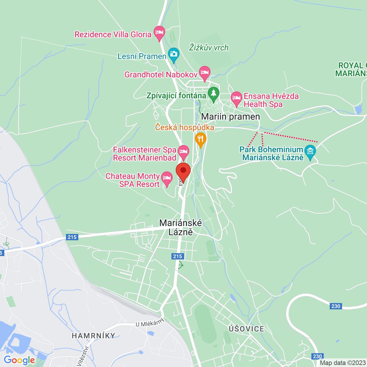 Mapa Butterfly Ensana Health Spa Hotel**** Mariánske Lázně