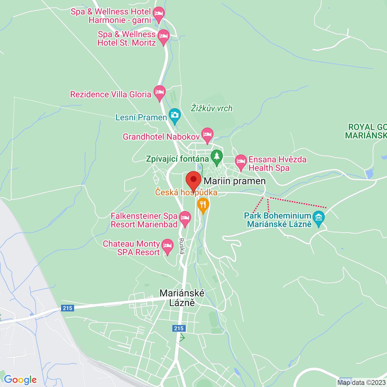 Mapa Hotel Orea Spa Bohemia**** Mariánske Lázně