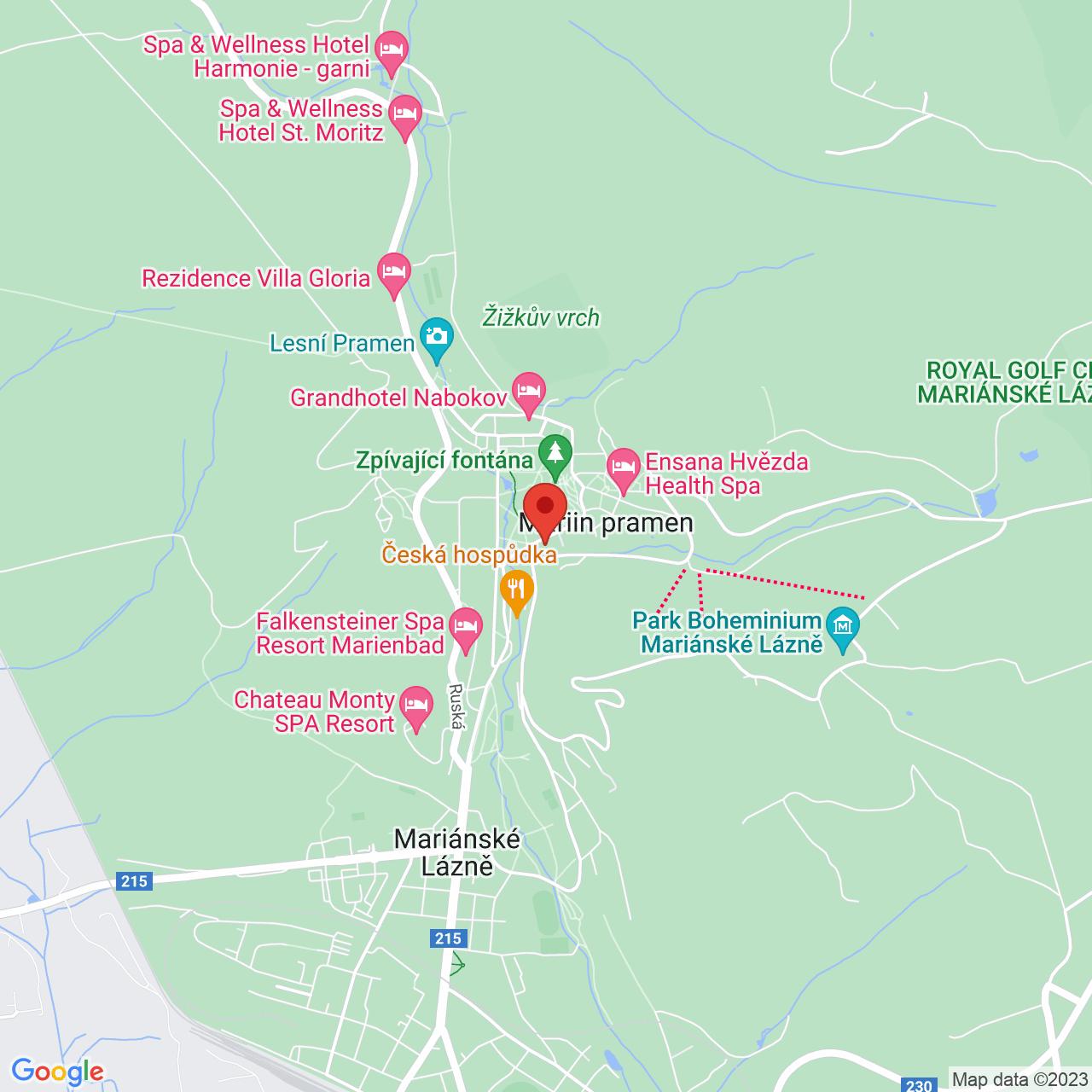 Mapa Nové Lázně Ensana Health Spa Hotel***** Mariánske Lázně