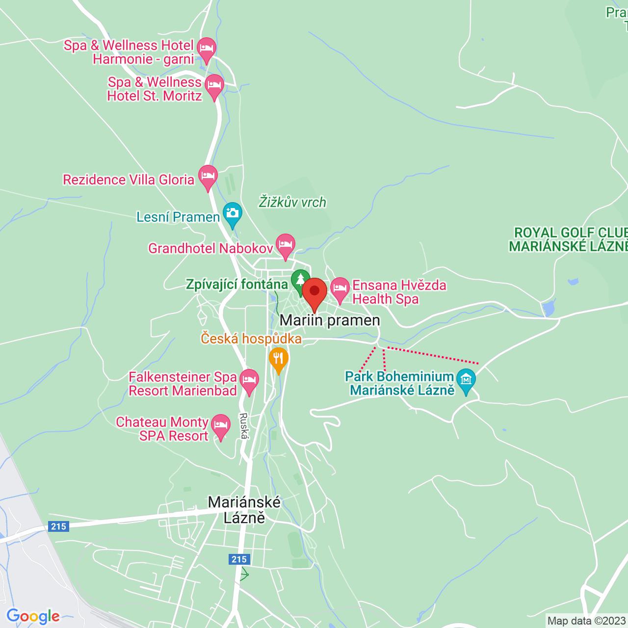 Mapa Hvězda Ensana Health Spa Hotel**** Mariánske Lázně