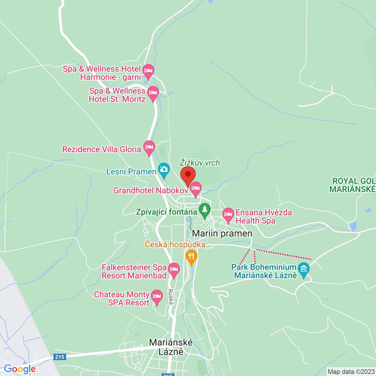 Mapa Svoboda Ensana Health Spa Hotel*** Mariánske Lázně