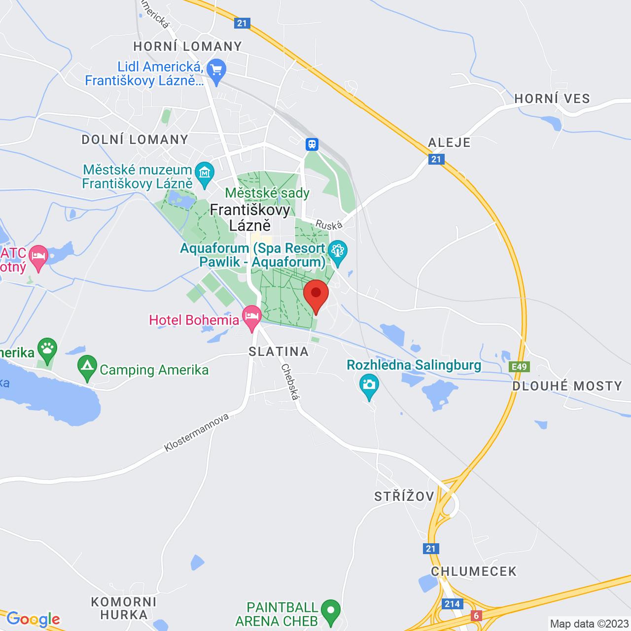 Mapa Hotel Imperial**** Františkovy Lázně