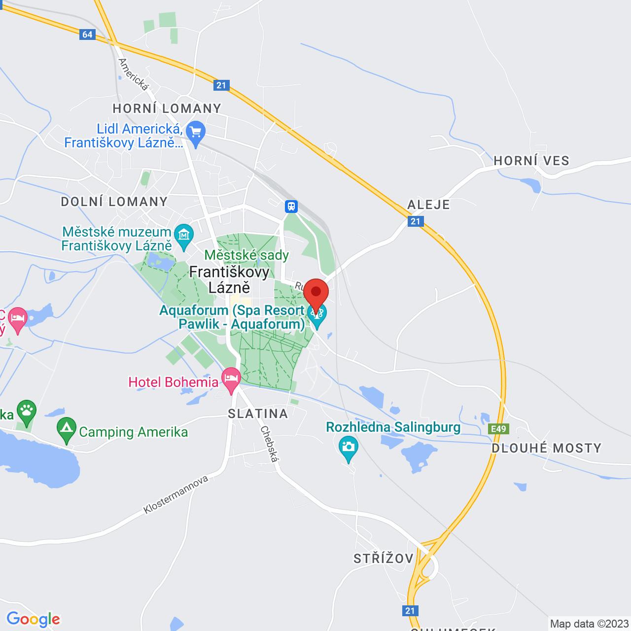 Mapa Kúpeľný Hotel Pawlik**** Františkovy Lázně