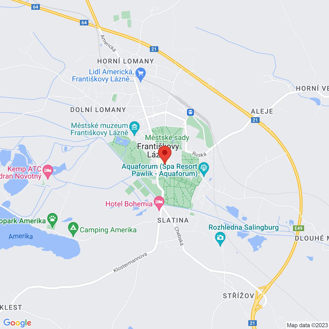 Mapa Kúpeľný Hotel Goethe*** Františkovy Lázně