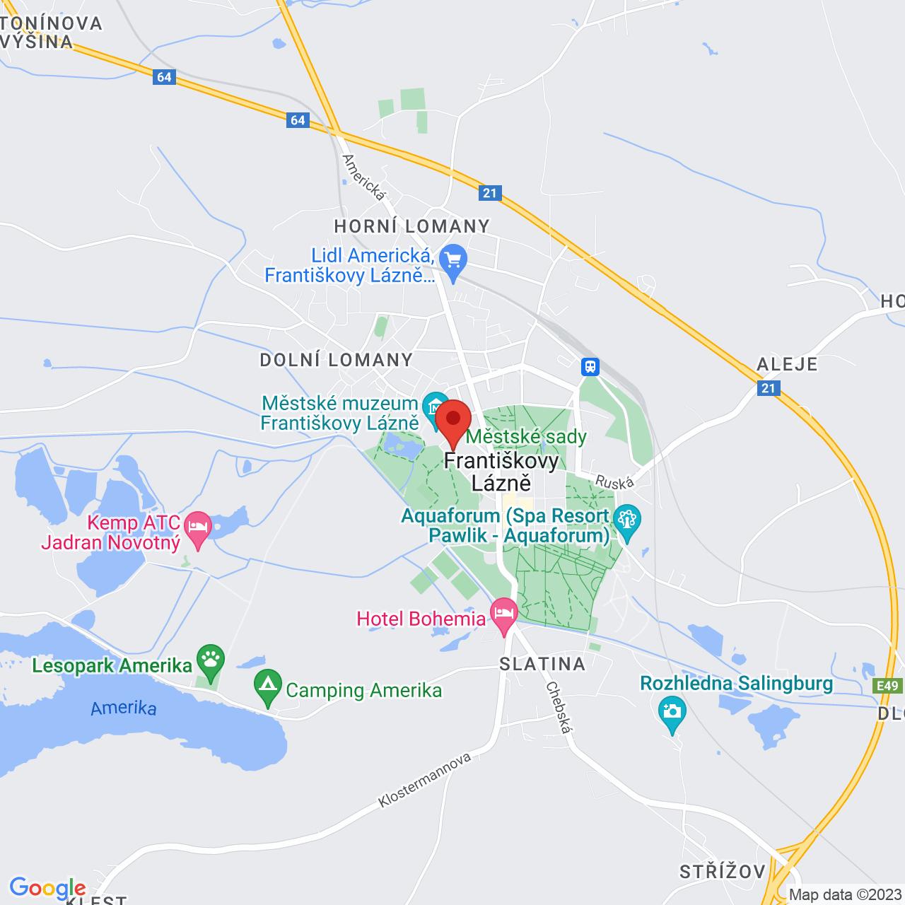 Mapa Hotel Spa & Kur Hotel Harvey**** Františkovy Lázně
