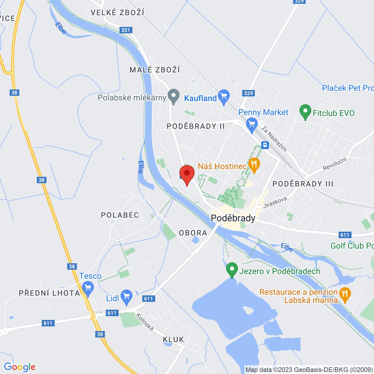 Mapa Hotel Zámeček**** Poděbrady