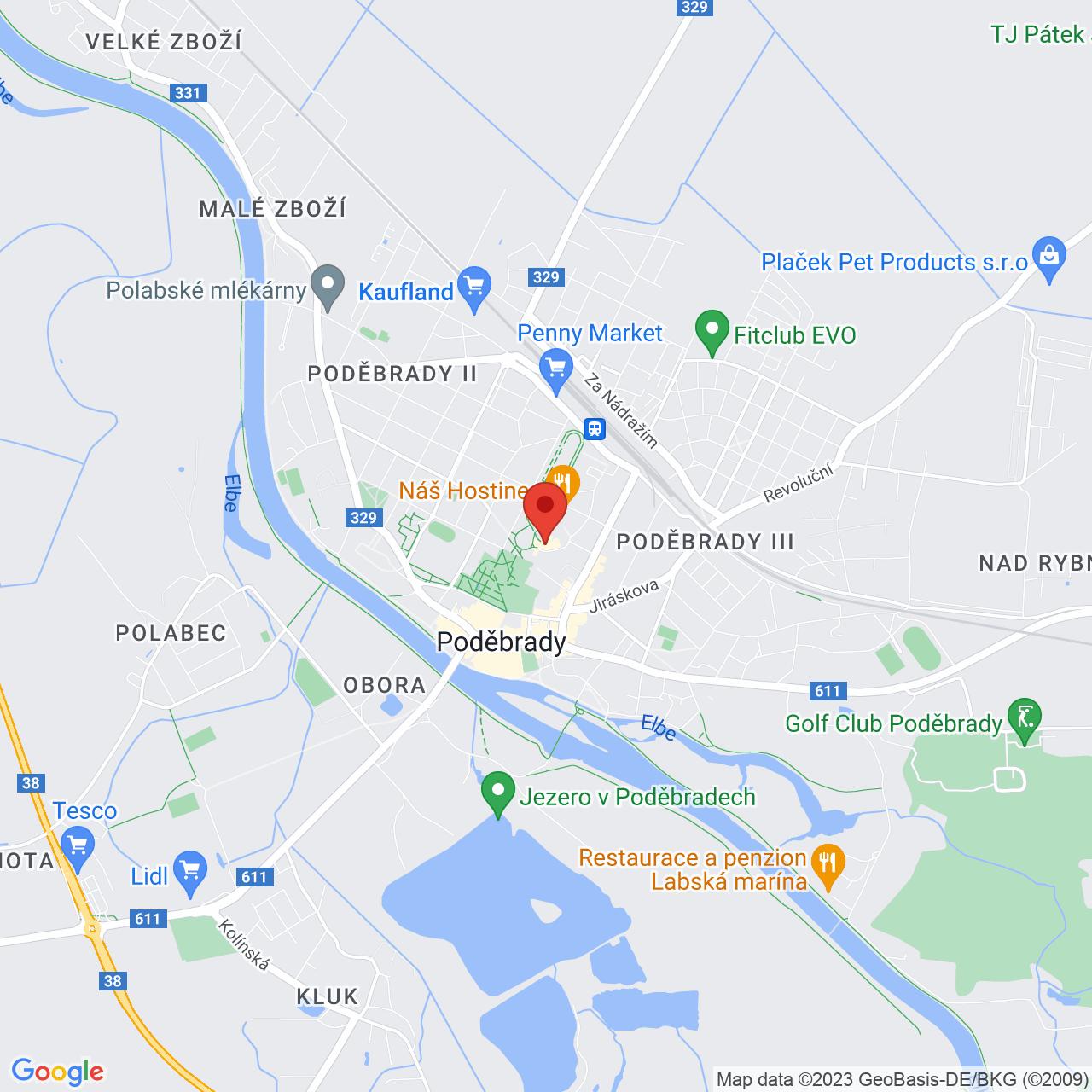 Mapa Hotel Bellevue - Tlapák**** Poděbrady