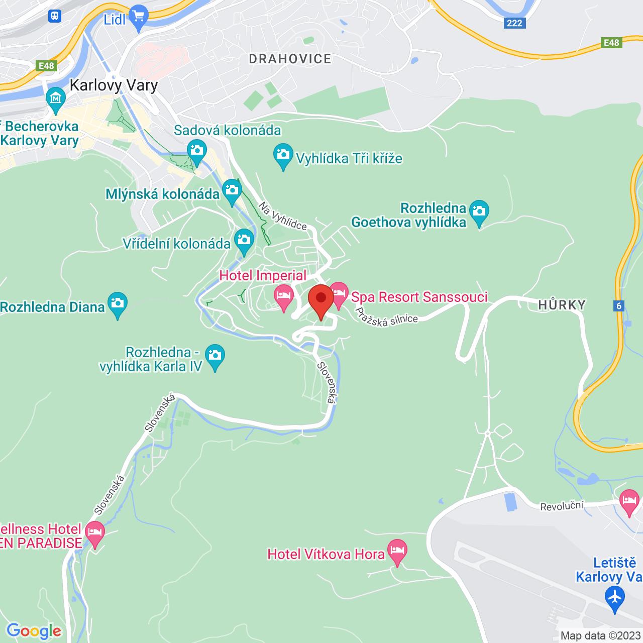 Mapa Kúpeľný Hotel Spa Resort Sanssouci**** Karlovy Vary