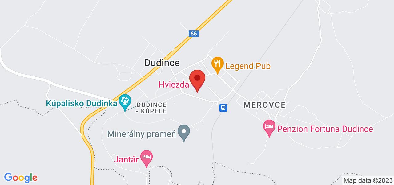 Mapa Hotel Hviezda*** Dudince