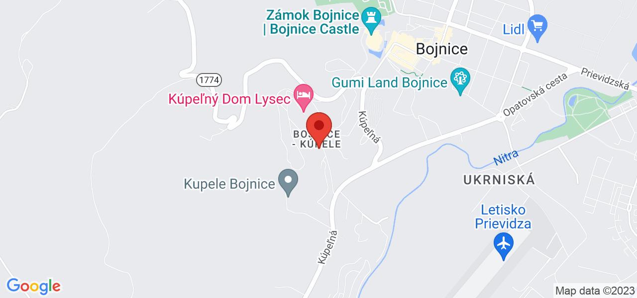 Mapa Liečebný dom Slávia Bojnice