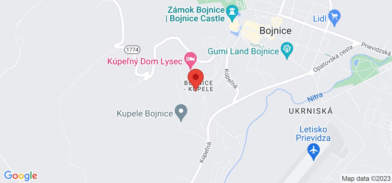 Mapa Liečebný dom Zobor Bojnice