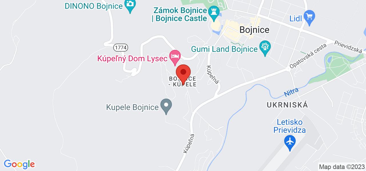 Mapa Liečebný dom Kľak Bojnice