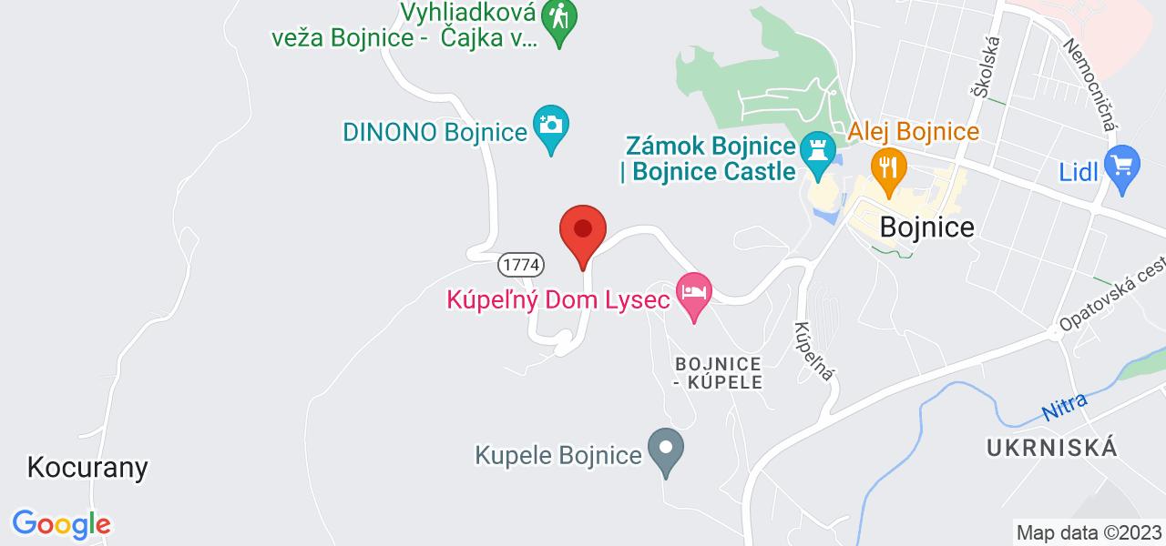 Mapa Liečebný dom Tribeč Bojnice