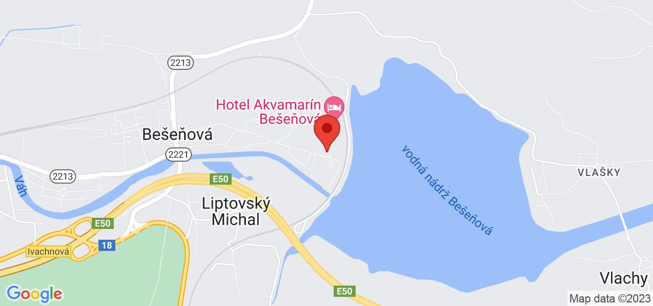 Mapa Hotel Bešeňová*** Bešeňová