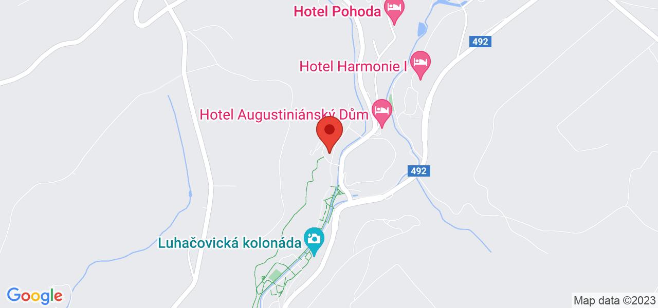 Mapa Kúpeľný Hotel Vila Antoaneta**** Luhačovice