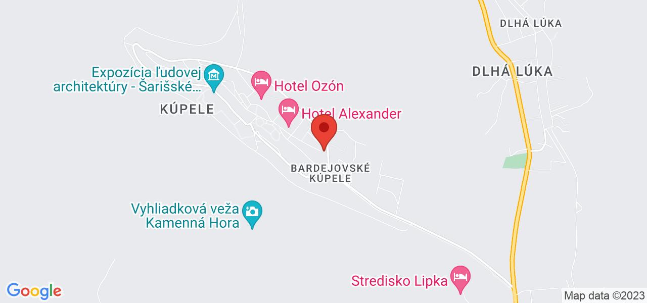Mapa Dependance kúpeľov Bardejov