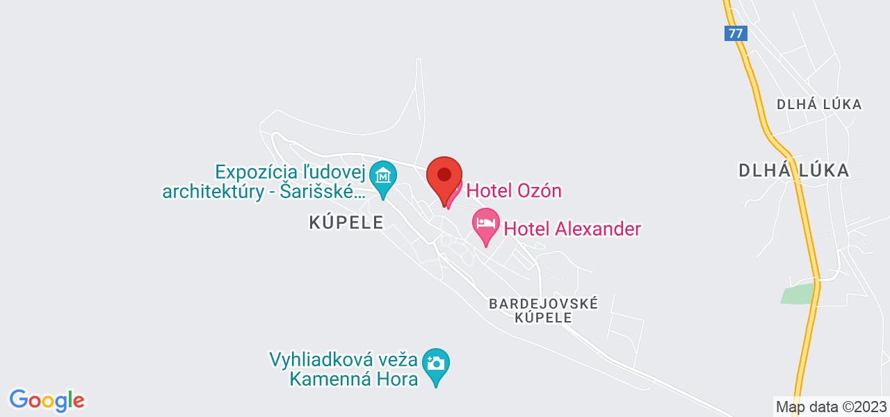 Mapa Kúpeľný Hotel Ozón*** Bardejov