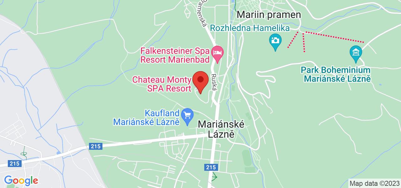 Mapa Hotel Chateau Monty SPA Resort**** Marianske Lazne